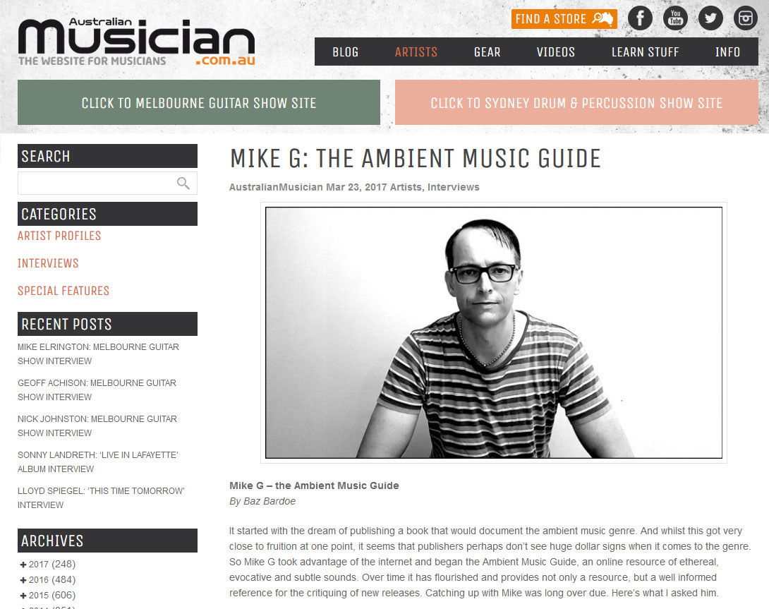 mike g interviewed by australian musician magazine ambient music guide